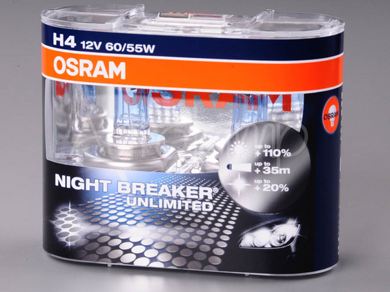 Žárovka H4 12V 60/55W OSRAM Night Breaker Unlimited - 2 kusy v balení